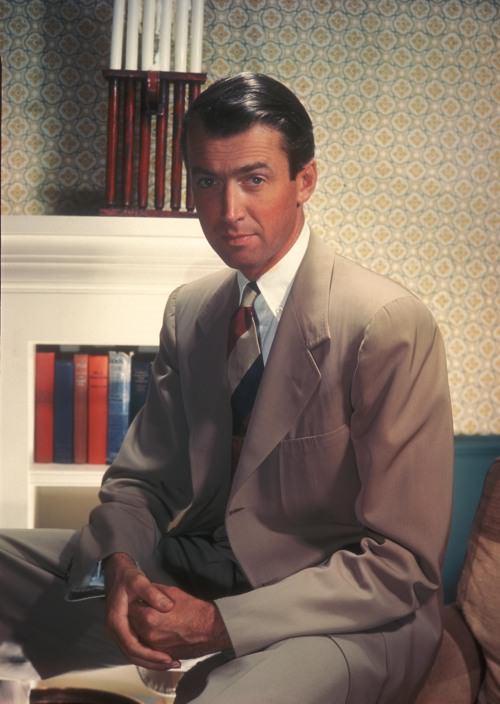 Block stripe tie and tan gabardine suit.