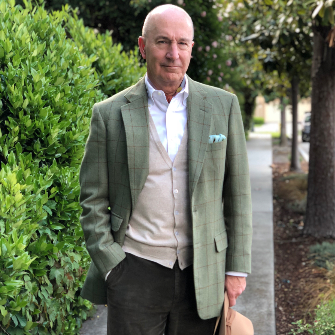 @stylefter50 wearing a muted green sport coat.