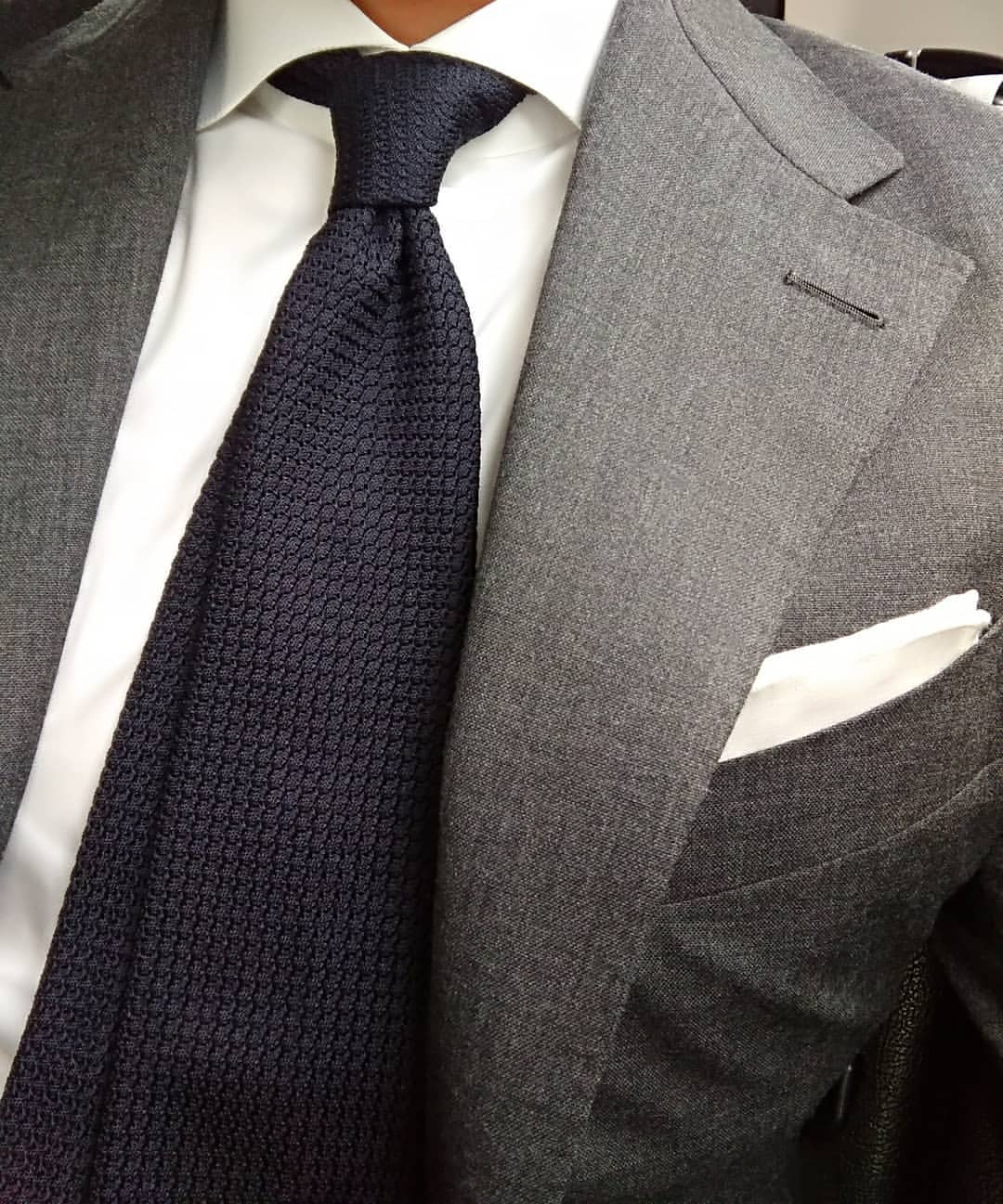 A navy grenadine tie by Vanda Fine Clothing